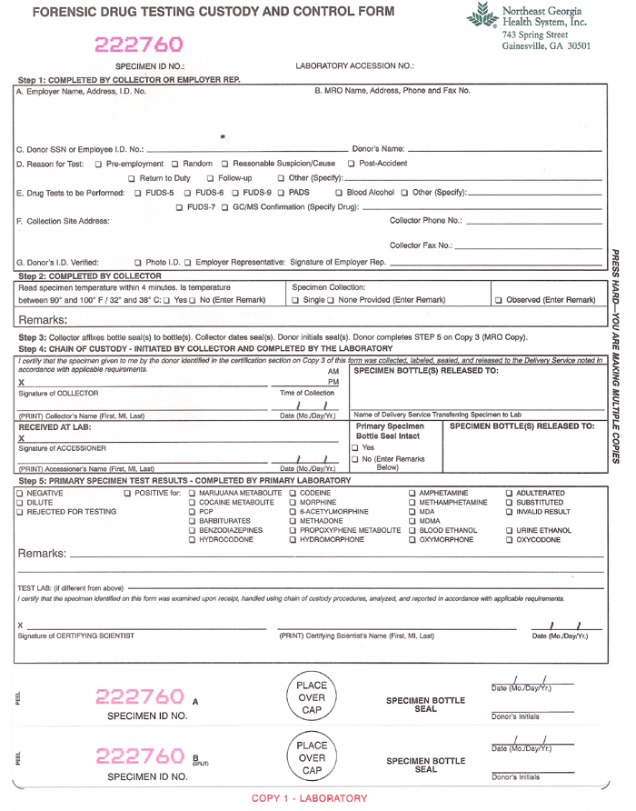 Forensic Drug Testing Form